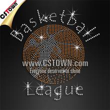 Energetic basketball league rhinestone basketball custom iron ons