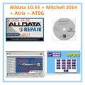 Nova 5 em 1 alldata 10.53+mitchell 2014 na demanda de reparação auto software+atris( auto peças catalogueaas) +atsg+usb conector