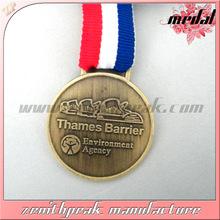 2014 Novelty design antique brass neck ribbons medals,award ribbon medal,fabric medal ribbon