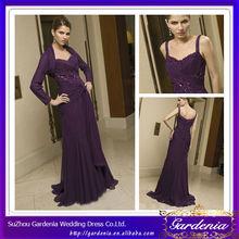 Elegant Brand Name A-line Spaghetti Straps Button Back Purple Chiffon Garden Wedding Mother of Bride Dresses (ZX038)