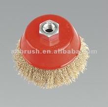 Crimped wire wheel brush/ round wire brush/ copper wire brush occ copper wire