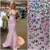 Latest Real Made Strapless Violet Satin Formal Dress with Stones EVE-0062 Mermaid Elegant Mermaid evening dresses france