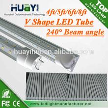 V Type led tube big beam angle rotatable caps led tube