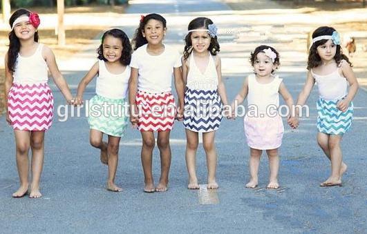 Hot Sale 100% Cotton Casual Kids Girls Mini Skirt Sexy Girls In School Chevron Short Skirts