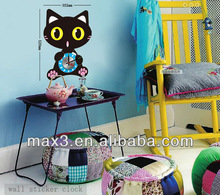 Cute Cat Colorful DIY Wall Clock Modern Design For Wholesale