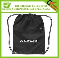 Hot Custom Logo Promotional Drawstring Bag With Zipper Pocket