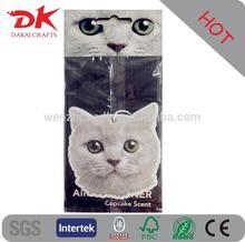 New hot sale hanging cat shape car air freshener/paper air freshener for car