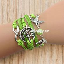 2014 Fashion Infinity , Couple bird & Wish Tree Antique Silver Charm Bracelet Wax Cords and Imitation Leather Bracelet