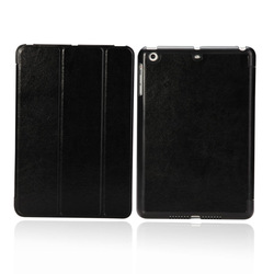 Ultra thin triple folding stand smart leather case for IPAD MINI black color