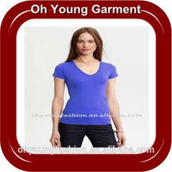 High quality ladies cheap deep v-neck t shirt,plain dyed tight fit t shirt wholesale china