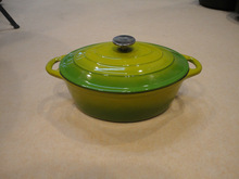 cast iron 6L Oval Two-Tones glossy enamel dutch oven