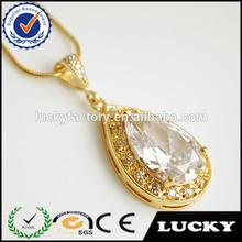 Gold wedding teardrop pendant jewelry bridal necklace