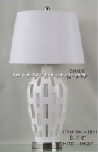 white hollow out piercing modern table lamp for home decor interior finish
