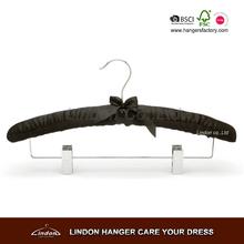 LS3807B Padded black satin bulky suit hanger