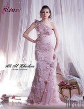 EFL-174 Elegant Mermaid One Shoulder Pink Flower Ruffle Tulle Evening Dress Online Shopping