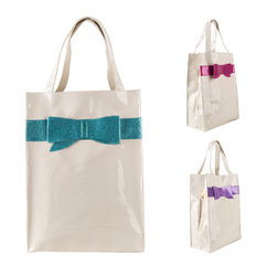 Custom waterproof vinyl glossy pvc tote bag with bowknot