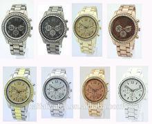 Para mujer del reloj de diamante de movimiento japonés de cuarzo reloj MK señora de la aleación de reloj de cuero
