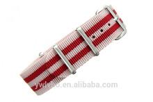 woven nylon fabrics strap supply nylon 20mm CREAM/RED PREMIUM nato strap fabric wristbands