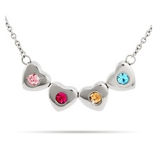Four Stone Family of Hearts Custom Birthstone Necklace Pendant