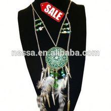 42quot Silver Chain Neck Set Dream Catcher Style w GreenPend. SALE ITEM $ 2.50 per