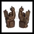 Niña de bronce de lectura& gato en estatua de banco