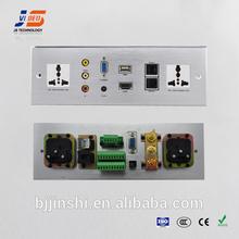 JS-WP301 USB+HDMI+AV+VGA+RJ45+RJ11+AC Power Aluminium Wall socket