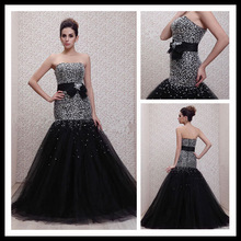 Latest A-line Square Neck with a waistband Beaded Sheath Tulle Floor Length Evening Dress 2014