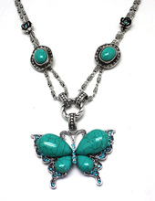 2014korea wholesale accessories costume jewelry premier Antique turquotise crystal butterfly pendant necklace