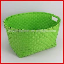 Handled shiny pp handmade woven colored plastic laundry baskets