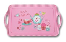 Two handle pink cute design melamine serving tray