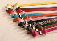 butterfly bow buckle with high quality soft pu belt for woman and girl