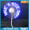 New certificated CE mini usb fan with customized led message
