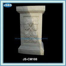 Carved Flowers Garden Square Marble Columns Pedestal