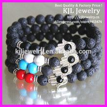 GZKJL-BL0102 Lava bead Hamsa bracelet, Red Coral Hamsa bracelet, Bronze Hamsa bracelet Unisex