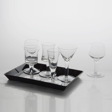 Clear 6 shaped goblet shot glasses,martini,brandy,flutes Tiny glass on the a tray