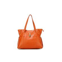 Stylish tote women fashion tote bag Orange leather handbag customized manufacturers