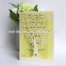 Red Leaves Ivory Laser Cut Wedding Tree invitations IC1402-01