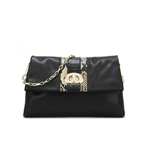 Lady Fold over clutch stylish Black genuine leather chain clutches wholesale clutches and purses