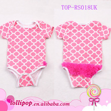 Hot sales ! Short sleeve soft infant cotton pink quatrefoil tutu bodysuit