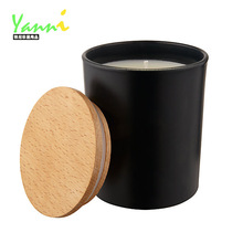 wooden lid/black glass jar/Soy Candle