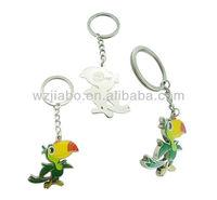 cheap cost blank design Zinc alloy material custom bird shape metal keychain