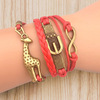 2014 New infinity handmade bracelet,Giraffe Wax Cords women sex animals bracelets