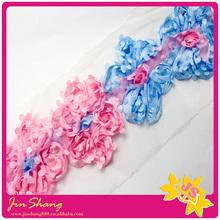 Chariming colour combination rose lace for garment decoration