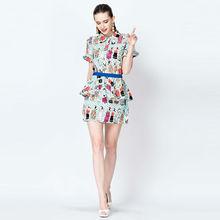 YIGELILA Lady Fashion Cartoon Print Casual Dress Summer 880