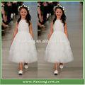 Pac- manga um- linha orgnaza e applique vestido de dama de crianças