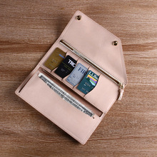 2014 Newest design handmade 100% Italian vegetable tanned leather card holder wallet with the original color of the leather