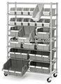 prateleira 7 22 bin rolling rack estantes de armazenamento de armazenamento comercial fio prateleiras