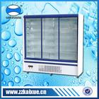 Adjustable shelf drug display cooler with sliding toughened hollow glass door