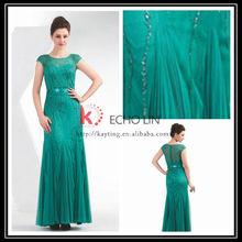 Hot Sale Beaded Flow Patterns Cap Sleeve Long Green Evening Dress