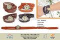 ファッション女性ビンテージリベットラップラウンドブロンズ本物の牛革ストラップブレスレットクォーツ腕時計